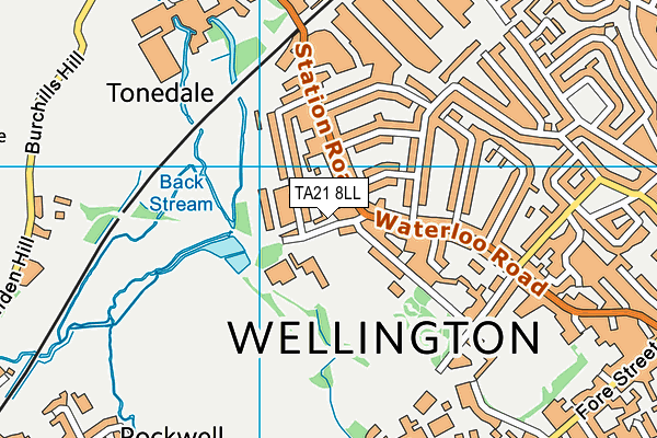 Wellington Sports Centre map (TA21 8LL) - OS VectorMap District (Ordnance Survey)