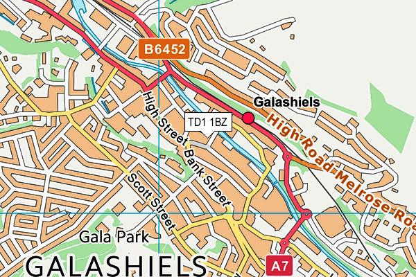 TD1 1BZ map - OS VectorMap District (Ordnance Survey)