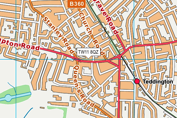 Better Gym Teddington map (TW11 8QZ) - OS VectorMap District (Ordnance Survey)