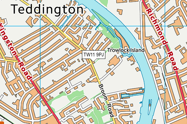 Teddington School map (TW11 9PJ) - OS VectorMap District (Ordnance Survey)