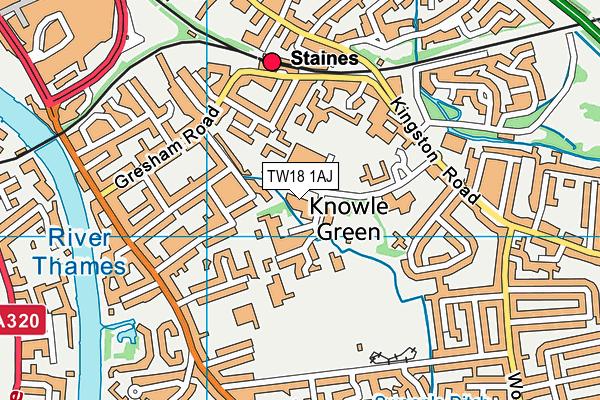Spelthorne Leisure Centre map (TW18 1AJ) - OS VectorMap District (Ordnance Survey)