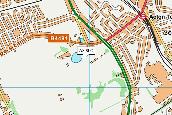 Gunnersbury Park Sports Hub map (W3 8LQ) - OS VectorMap District (Ordnance Survey)