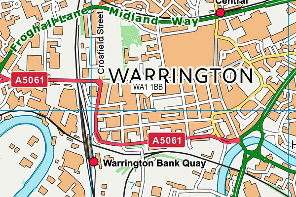 Springfield Fitness And Spa (Closed) map (WA1 1BB) - OS VectorMap District (Ordnance Survey)