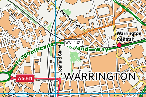 WA1 1UZ map - OS VectorMap District (Ordnance Survey)