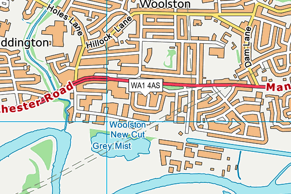 WA1 4AS map - OS VectorMap District (Ordnance Survey)