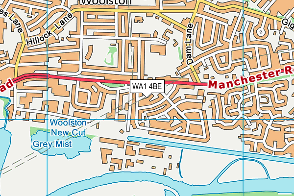 WA1 4BE map - OS VectorMap District (Ordnance Survey)