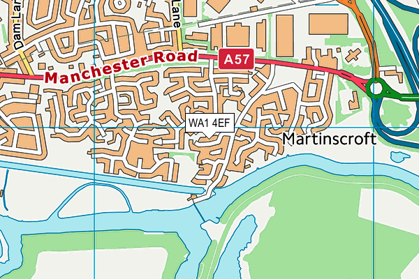 WA1 4EF map - OS VectorMap District (Ordnance Survey)