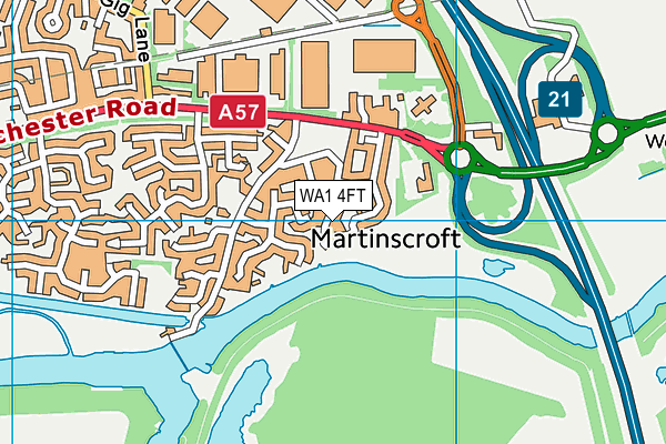 WA1 4FT map - OS VectorMap District (Ordnance Survey)