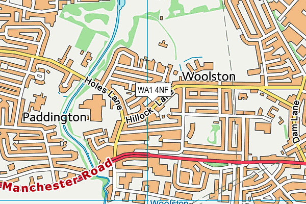Monk Sports And Social Club map (WA1 4NF) - OS VectorMap District (Ordnance Survey)