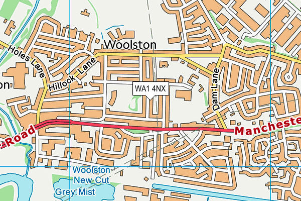 WA1 4NX map - OS VectorMap District (Ordnance Survey)