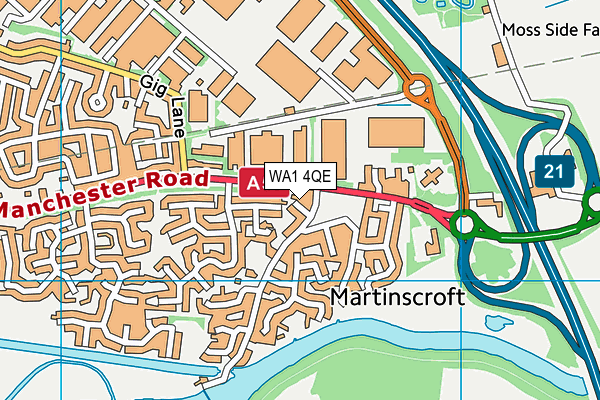 WA1 4QE map - OS VectorMap District (Ordnance Survey)