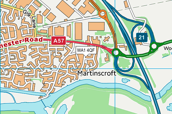 WA1 4QF map - OS VectorMap District (Ordnance Survey)