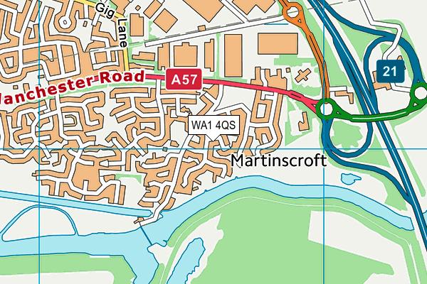 WA1 4QS map - OS VectorMap District (Ordnance Survey)