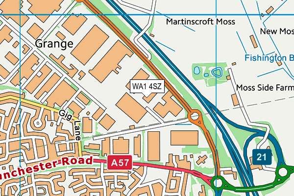 WA1 4SZ map - OS VectorMap District (Ordnance Survey)