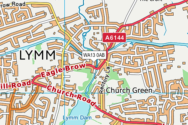 WA13 0AB map - OS VectorMap District (Ordnance Survey)