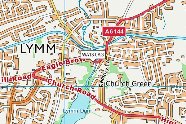WA13 0AG map - OS VectorMap District (Ordnance Survey)