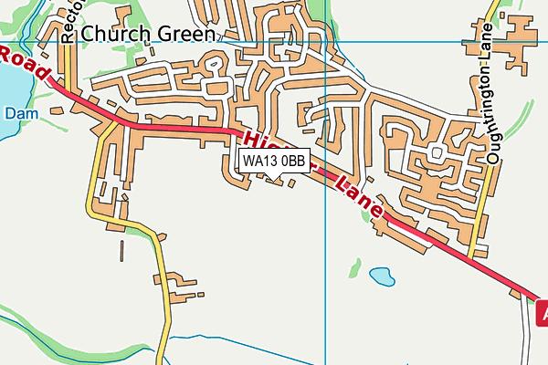 WA13 0BB map - OS VectorMap District (Ordnance Survey)