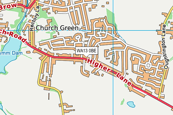 WA13 0BE map - OS VectorMap District (Ordnance Survey)