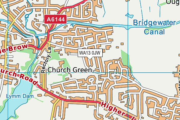 WA13 0JW map - OS VectorMap District (Ordnance Survey)