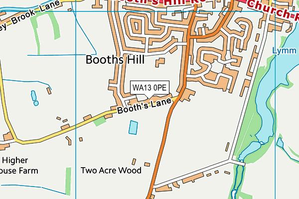 WA13 0PE map - OS VectorMap District (Ordnance Survey)