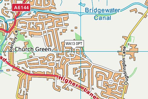 WA13 0PT map - OS VectorMap District (Ordnance Survey)