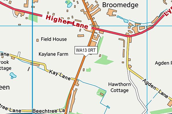WA13 0RT map - OS VectorMap District (Ordnance Survey)