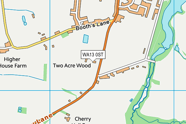 WA13 0ST map - OS VectorMap District (Ordnance Survey)