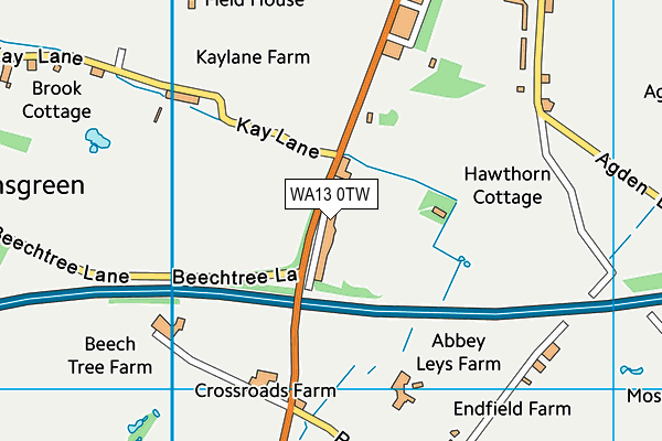WA13 0TW map - OS VectorMap District (Ordnance Survey)