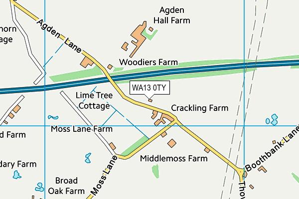 WA13 0TY map - OS VectorMap District (Ordnance Survey)