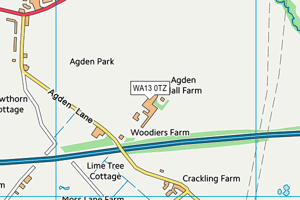 WA13 0TZ map - OS VectorMap District (Ordnance Survey)