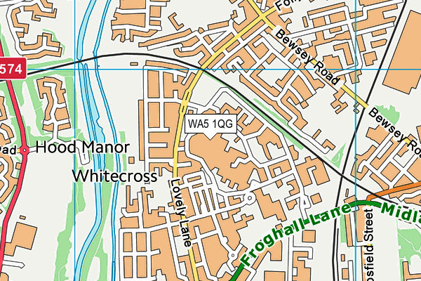 Warrington Hospital Unit Co Wards B10-11 map (WA5 1QG) - OS VectorMap District (Ordnance Survey)