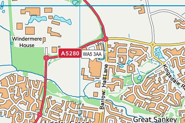 Great Sankey High School map (WA5 3AA) - OS VectorMap District (Ordnance Survey)