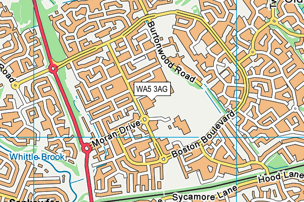 WA5 3AG map - OS VectorMap District (Ordnance Survey)