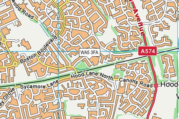 WA5 3FA map - OS VectorMap District (Ordnance Survey)