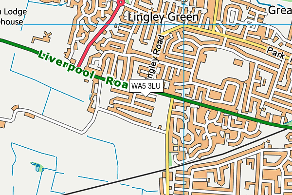 Stocks Lane Playing Field map (WA5 3LU) - OS VectorMap District (Ordnance Survey)