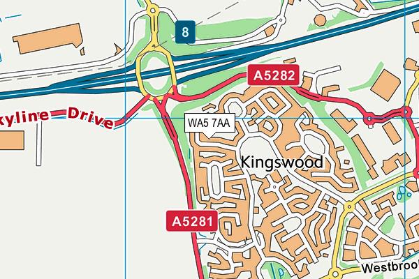 WA5 7AA map - OS VectorMap District (Ordnance Survey)