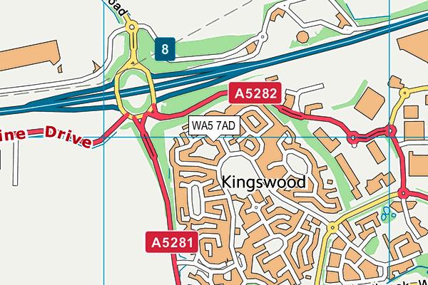 WA5 7AD map - OS VectorMap District (Ordnance Survey)