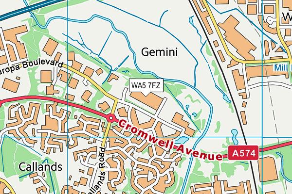 WA5 7FZ map - OS VectorMap District (Ordnance Survey)