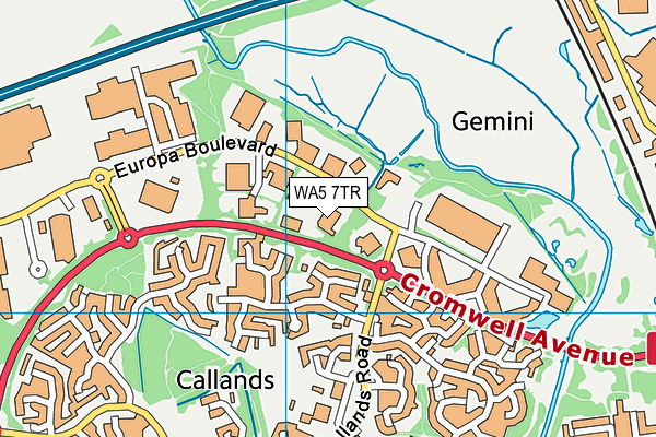 WA5 7TR map - OS VectorMap District (Ordnance Survey)