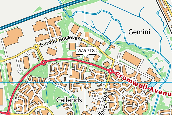 WA5 7TS map - OS VectorMap District (Ordnance Survey)
