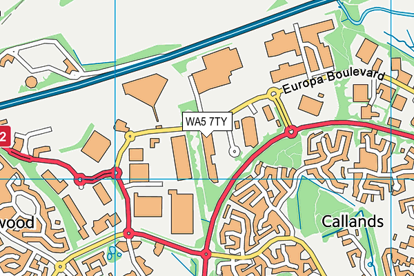 WA5 7TY map - OS VectorMap District (Ordnance Survey)