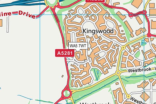 WA5 7WT map - OS VectorMap District (Ordnance Survey)