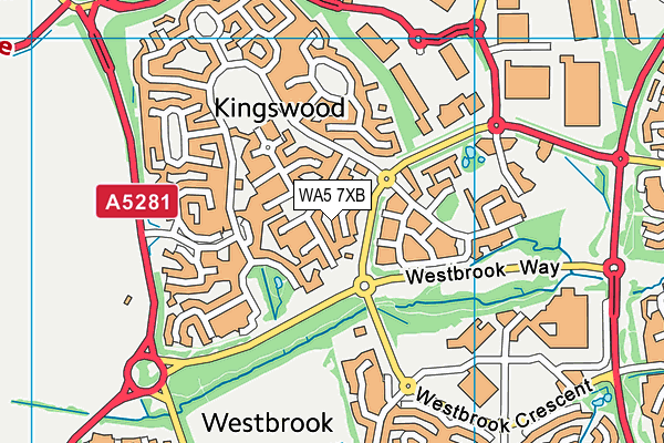 WA5 7XB map - OS VectorMap District (Ordnance Survey)