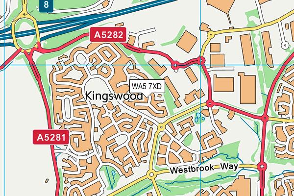 WA5 7XD map - OS VectorMap District (Ordnance Survey)