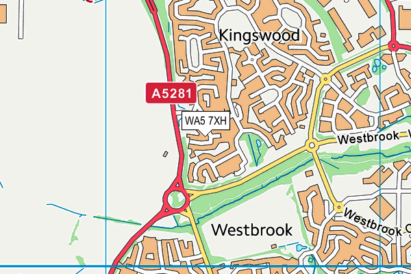 WA5 7XH map - OS VectorMap District (Ordnance Survey)