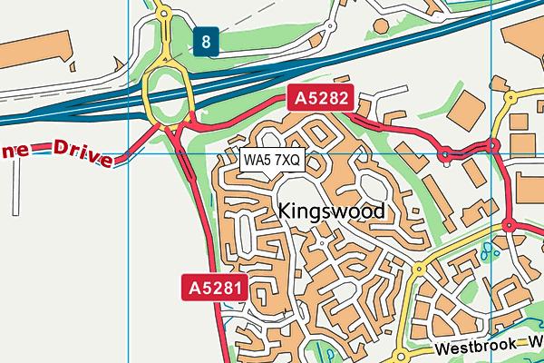 WA5 7XQ map - OS VectorMap District (Ordnance Survey)