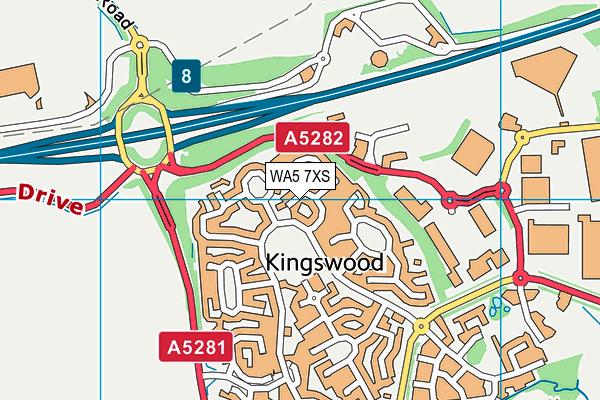 WA5 7XS map - OS VectorMap District (Ordnance Survey)