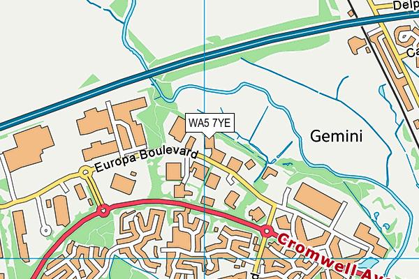 WA5 7YE map - OS VectorMap District (Ordnance Survey)