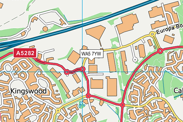 WA5 7YW map - OS VectorMap District (Ordnance Survey)