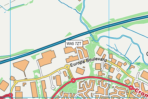 WA5 7ZT map - OS VectorMap District (Ordnance Survey)